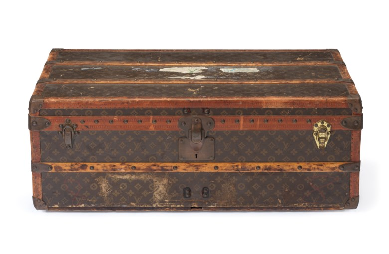 A classic Monogram Canvas trunk with brass hardware, Louis Vuitton, circa 1920. 90 w x 50 h x 34 d cm. Estimate $2,000-3,000. This lot is offered in  Handbags & Accessories, 20 November to 5 December 2018, Online