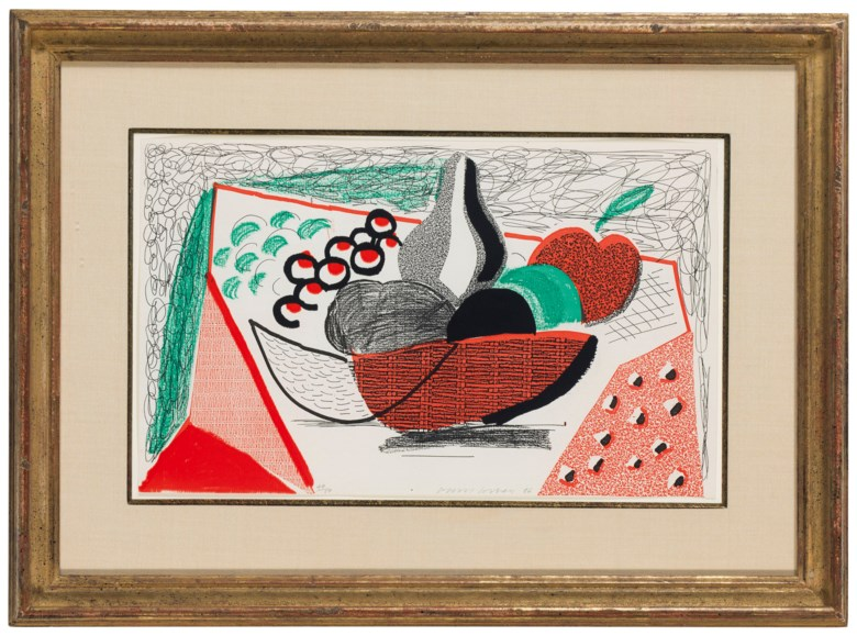 David Hockney (b. 1937), Apples, Pears & Grapes, 1986. Sheet 8⅜ x 13⅞ in (213 x 352 mm). Estimate $3,000-5,000. Offered in Contemporary Edition, 9-17 July 2018, Online
