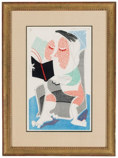 David Hockney (b. 1937), Man Reading Stendahl, 1986. Sheet 14 x 8½ in (356 x 216 mm). Estimate $2,500-3,500. Offered in Contemporary Edition, 9-17 July 2018, Online
