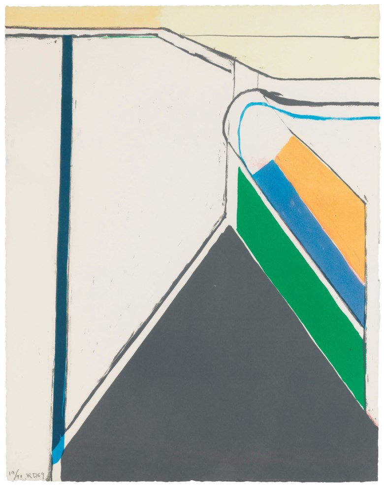 Richard Diebenkorn (1922-1993), Untitled (Ocean Park). Sheet 23⅞ x 18¾ in (606 x 476 mm). Estimate                    $7,000-9,000. Offered in Contemporary Edition, 9-17 July 2018, Online