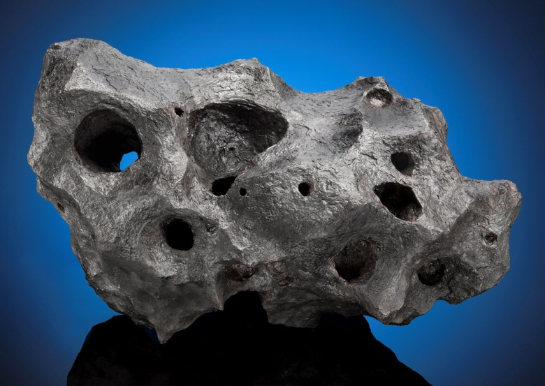 Matchless Canyon Diablo Meteorite — Natural Sculpture From Outer Space, Iron — Coarse octahedrite IAB-MG Meteor Crater, Coconino County, Arizona (35°3 N, 111°2 W) . 344 x 203 x 184mm (13½ x 8 x 7¼in). Estimate                    $150,000-250,000. This lot is offered in Deep Impact Martian, Lunar and Other Rare Meteorites, 7-14 February 2018, Online
