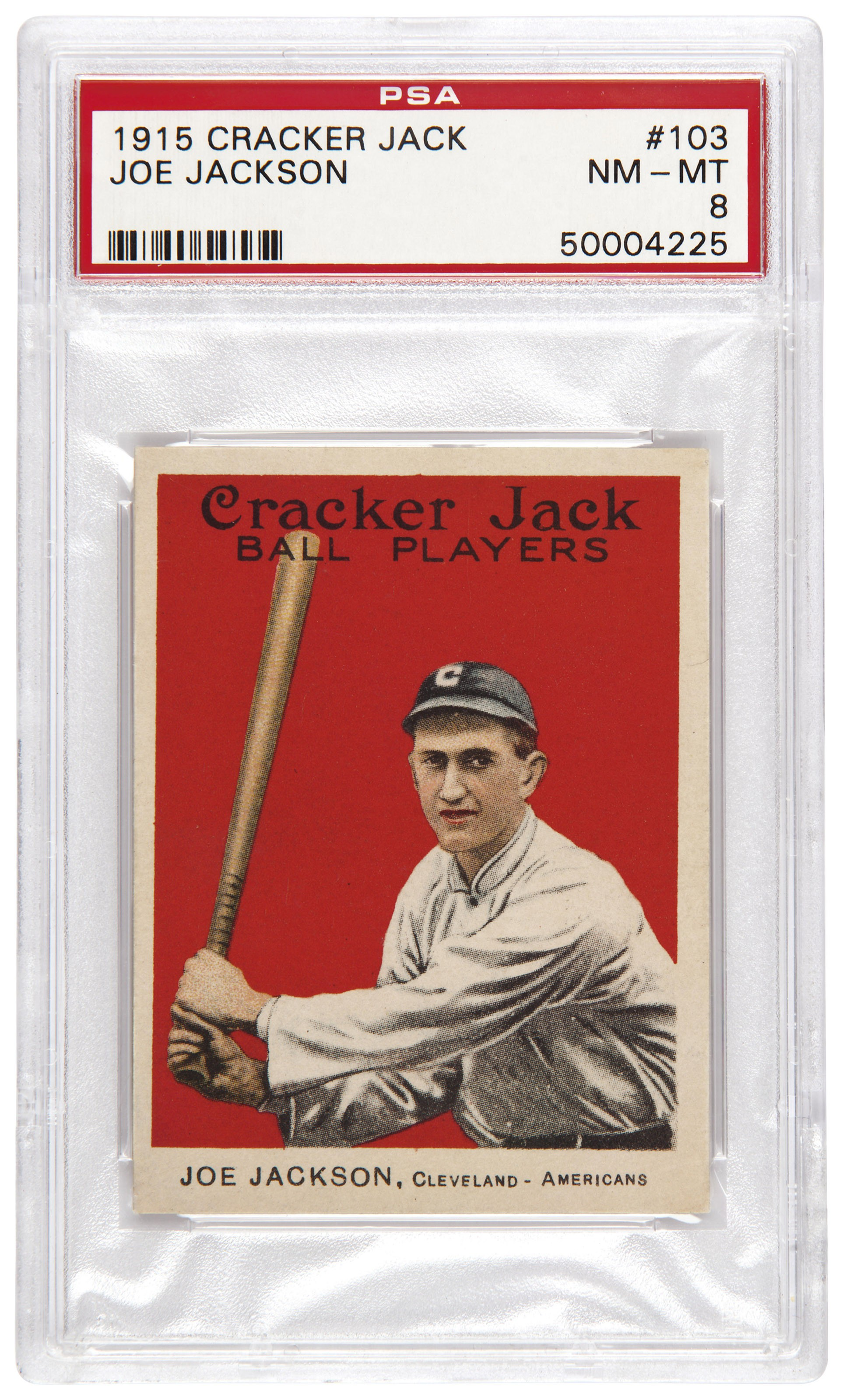 1915 Cracker Jack #103 Joe Jackson. Estimate                    $50,000-70,000. This lot is offered in The Golden Age of Baseball, 29 March to 6 April 2018, Online