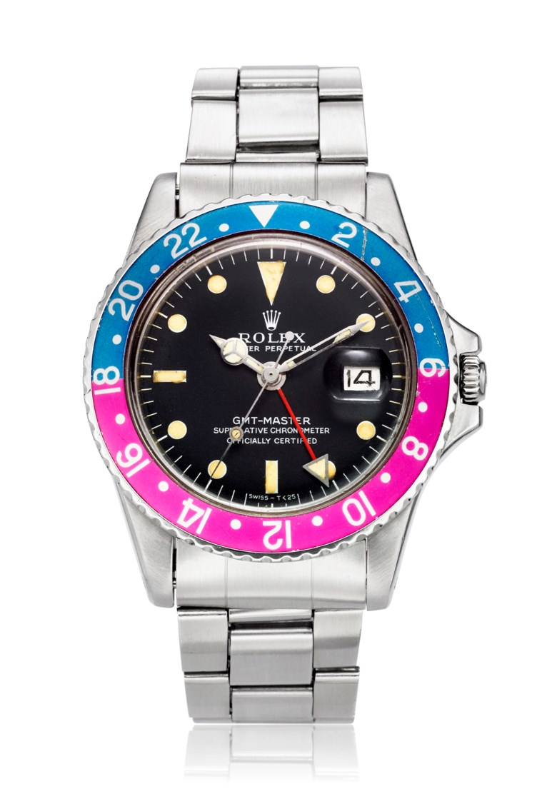 Rolex, GMT-Master Faded Pepsi, Ref. 1675. Bracelet 7.48 inches  190mm. Estimate                    $15,000-20,000. Offered in Christies Watches Online Summer Watch Series Part II, 28 June to 12 July 2018, Online