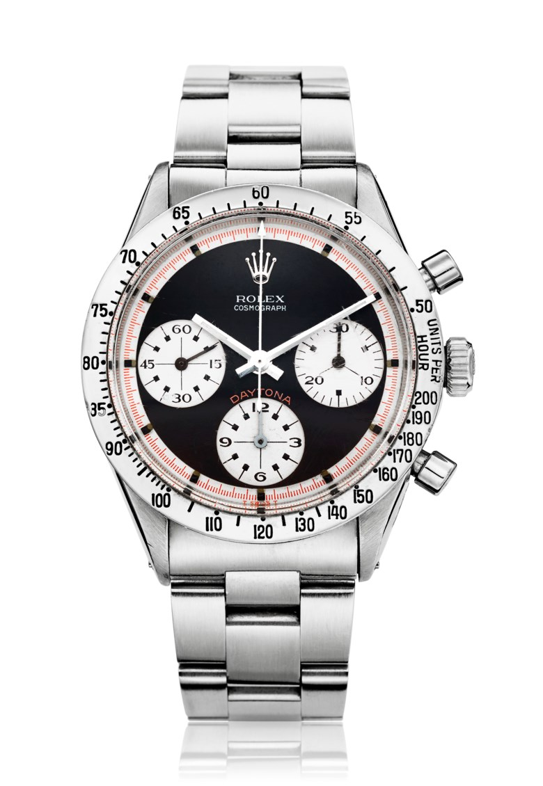 Rolex, Paul Newman Daytona, Ref. 6239. Bracelet 6.7 inches  170mm. Price realised                    $150,000, 28 June to 12 July 2018, Christies Online